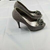 Dollhouse Gray Fabric Peep Toe Heels size 9 1/2