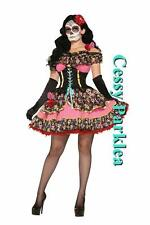 Mexican Day Of The Dead Skull Spanish Dress Up Senorita Halloween Costume