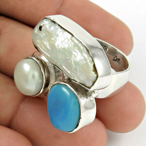 Round Shape Turquoise Pearl Gemstone Ring Size 8 925 Silver Fine Jewelry W55