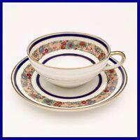 Charles Ahrenfeldt Limoges Tea Cup & Saucer White w/ Cobalt Blue & Flowers