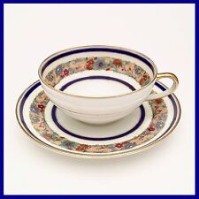 Charles Ahrenfeldt Limoges Tea Cup & Saucer White w/ Cobalt Blue & Flowers