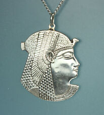 Egyptian Necklace 1960s STERLING Silver PHARAOH RAMSES III with Nekhbet Vulture