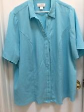 C.J. Banks, Ladies Career top, size 3X, Gorgeous Turquoise, Textured fabric EUC