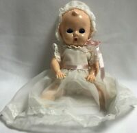 Hard Plastic Doll Christening Dress Shoes 8 Inch Sleeping Eyes Vintage