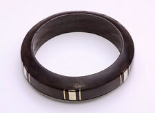 Black Painted Wood With Gold Metal Intervals Modern Tribal Wrist Cuff(Zx28)