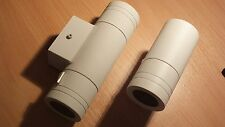 2 x Outdoor White Steel Wall Light - 1 x UP/DOWN Version 1 x DOWN only  ip44 50W