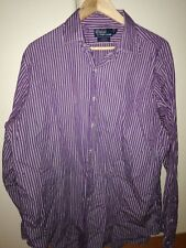 "Polo by R.Lauren men shirt, 17"" collar 36/37"" curham classic fit, purple stripe"
