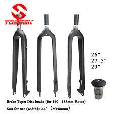 """1-1/8"""" Full Carbon Fiber Mountain Bike Fork Disc Brake Rigid Forks 26/27.5/29er"""