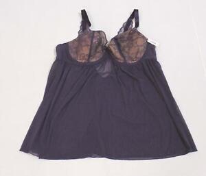 Adore Me Women's Ella Contour Plus Mesh Babydoll Lingerie LV5 Purple Size 42DDD