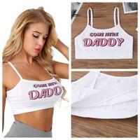 Letter Print Women's Sleeveless Crop Top Vest Casual Tank Tops Blouse T-Shirt