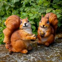 Pair of Realistic Red Squirrel Garden Animal Ornaments Outdoor Statues