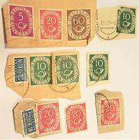 Germany Stamp LOT Deutsche Bundespost Posthorn 1951 5pf-10-20-60-2 Berlin 1948-9