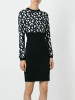 DOLCE & GABBANA 2945$ Authentic New Black Cashmere Flower Print Cady Dress