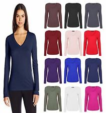 New Women Ladies Plain Long Sleeve V Neck Top Shirt Casual T-Shirt Size 8-26