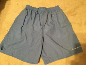 Vintage Champion Mens Blue Nylon Swim Trunks Shorts Mesh Lined  Size L