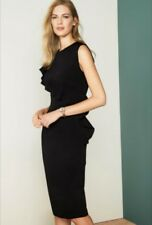 BNWT NEXT Black Tailored Ruffle Detail Dress in Size UK 10 Tall - RRP £48