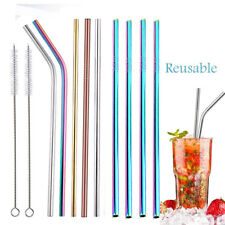 4x Stainless Steel Drinking Metal Straw Reusable Bar Straws Cleaner Brush Kit