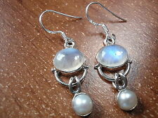 Cultured Pearl and Moonstone 925 Sterling Silver Dangle Earrings