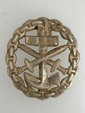 VINTAGE Imperial Germany German WWI Naval Marine Wound Badge silver grde PIERCED