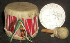 Mini Southwest Native American Indian Style Leather Drum 1:12 Instrument #5269