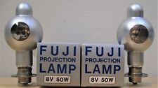 TWO FUJI 8 VOLT 50 WATT(CXL-CXR) PROJECTION LAMPS FOR BOLEX AND OTHER MAKES.*