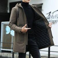Winter Men's Hooded Windbreaker Trench Coat Jacket Cotton Padded Outwear Casual