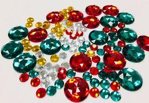 100 x Acrylic rhinestone Gem VARIETY pack 6mm 14mm topper craft jewel flat back