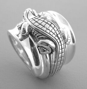 KIESELSTEIN CORD STERLING SILVER DIAMOND ALLIGATOR BAND RING SIZE 6