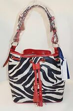 NWT Dooney Bourke Purse Handbag Bag Zebra Animal Red Drawstring Hobo MSRP $295