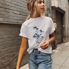 Brandy Melville white cotton crewneck aleena forget me not Floral top Shirt NWOT