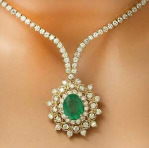 """TGW 30.00 CTS,Tennis 16"""" Necklace with Emerald & Diamond in 14K Yellow Gold Over"""