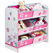 FLOWERS AND BIRDS 6 BIN STORAGE UNIT PINK CHILDRENS BEDROOM TOYS GAMES STORAGE