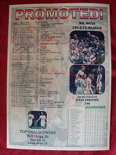 MK Dons League One runners-up 2015 - souvenir print