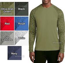 BIG MENS Long Sleeve Digital Camo T-Shirt XL, 2XL, 3XL, 4XL Moisture Wicking Tee