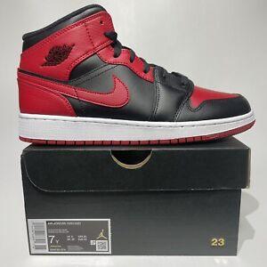 Nike Air Jordan 1 Mid Banned 2020 Women's Size 8.5 (GS 7Y) Black Red 554725-074