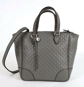 Gucci Gray Micro-guccissima Leather Small Tote Crossbody Bag 449241 1226