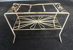 Rusty Bent White Small Side table Missing Top Shabby Chic Garden Furnishing