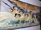 "Vintage Velvet Tapestry Wall Hanging Mountain Goats 38""x18 1/2"""