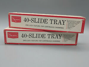 SET OF TWO VINTAGE SEARS 40 - SLIDE TRAY END - LOCK FOR ALL PROJECTORS TDC