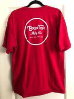 Brixton Wheeler II T-Shirt - Red/White Tee Mens Size XL Skateboarding, Lifestyle