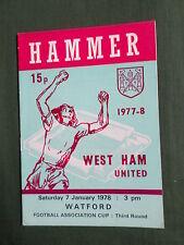WEST HAM UTD v  WATFORD   - 77/78  F.A  CUP