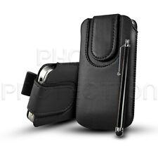 Knopf Leder Pull Tab Case Etui Cover und Stylus Pen Für Verschiedene HTC Handys