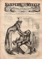 1877 Harpers Weekly May 5-Uncle Sam scolds Nast;Kyoto Japan; India Rice;Elephant