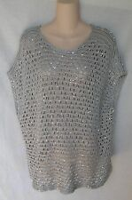 EILEEN FISHER SEQUIN CHAINMAIL MESH SCOOP NECK CAP SLEEVE BOX TOP PL