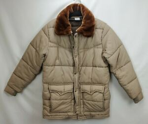 Vintage 70s Walls Blizzard Pruf Western Puffer Jacket Coat Sz Medium Fur Collar