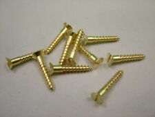 """Solid brass screws, pack of 10 No.8 x 1"""" (4 x 25mm) countersunk slotted"""