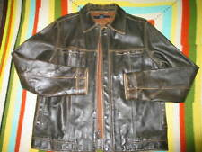 Gap Men's Brown Distressed thick  Leather Jacket with 5 Buttons and zipper Smal