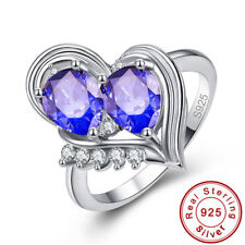 Waterdrop Heart Rainbow Topaz Tanzanite S925 Sterling Silver Ring Sz L½ N½ P½ R½