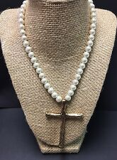Estrellas By A La Luna- MS Made- Pearl Necklace With Gold Plated Cross-New