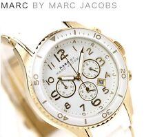 Nuevo Marc Jacobs Rock Blanco Y Oro Rosa Cronógrafo Silicona Ladies Watch mbm2546